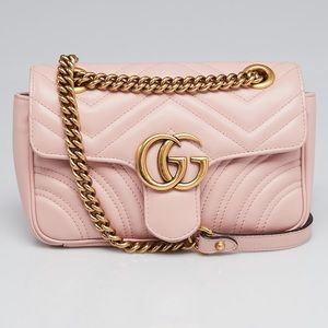 Gucci Pink Quilted Leather Marmont Bag